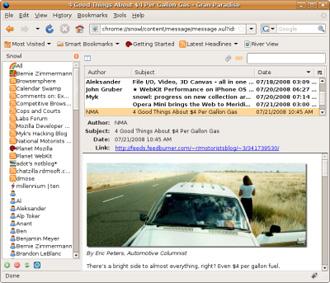 Интерфейс Snowl (изображение с сайта Mozilla)
